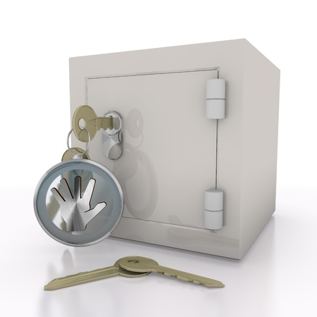 strongbox: Steel blue  stopping strongbox 3d graphic with isolated hand icon  on a safe door Stock Photo