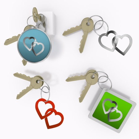 Red  coltish romance 3d graphic with isolated two hearts sign  on set of keys photo