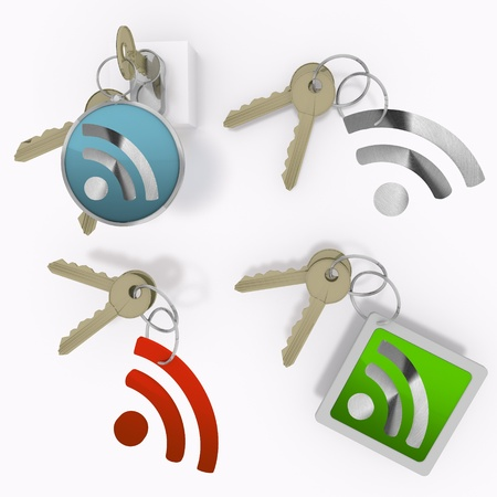 lan: Red  isolated wire less lan 3d graphic with isolated wifi symbol  on set of keys