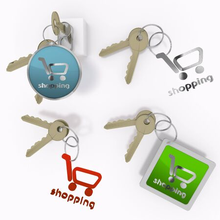 Red  isolated shop 3d graphic with safe shopping sign  on set of keys Stock Photo - 21436732