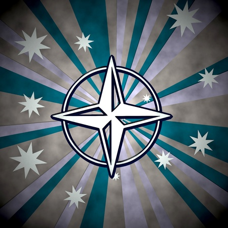 navigating: Medium Persian blue  navigating design 3d graphic with old compass icon  on retro star background