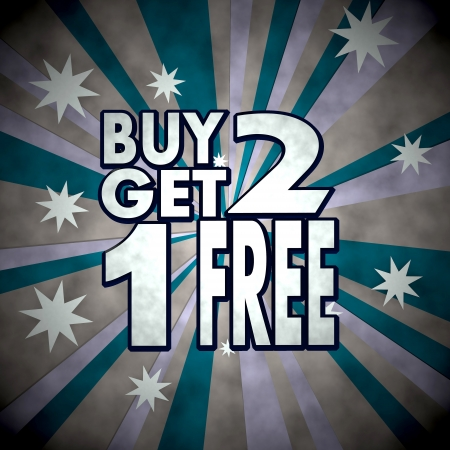 get one: Medium Persian blue  dirty 70s 3d graphic with dirty buy two get one free sign  on retro star background Stock Photo