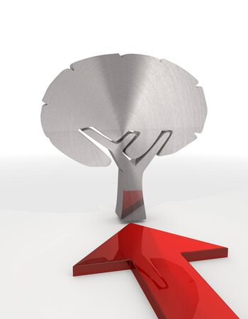 autumnn: Red  decorative design 3d graphic with isolated abstract tree sign with red arrow