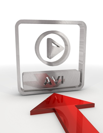 avi: Red  decorative design 3d graphic with isolated avi file sign with red arrow