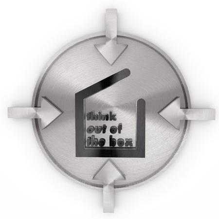 out think: Pastel fr�o y gris de dise�o gr�fico 3d con aisladas pensar fuera de la caja de s�mbolo en la etiqueta met�lica Foto de archivo