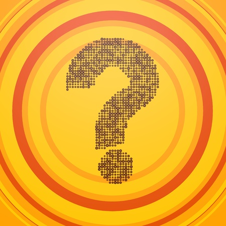 smoky black: Smoky black  old quiz 3d graphic with friendly question label  on circle retro background Stock Photo