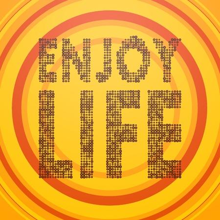 enjoy life: Smoky nero vecchio cerchio grafico 3d con felice icona vita godere sul cerchio retr� sfondo