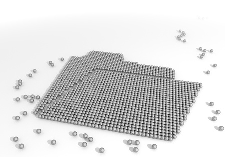 Black  arranged organize 3d graphic with arranged folder label made of tiny spheres photo