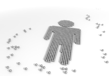 Black  male character 3d graphic with arranged man icon made of tiny spheres photo