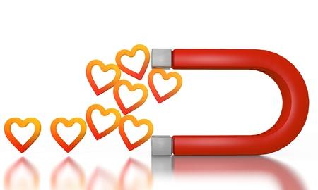 magnetismus: Wei� gl�cklich Magnetismus 3D-Grafik mit Magnet Herz-Symbol von einem Magneten angezogen