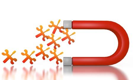 magnetismo: Bianco costruendo magnetismo grafica 3d con simbolo isolato meccanico attratto da un magnete