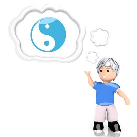 Medium Persian blue  smart harmful 3d graphic with isolated ying yang symbol  thought by a 3d character photo