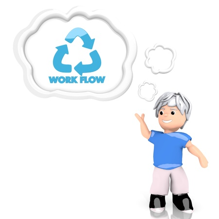 Medium Persian blue  working boy 3d graphic with smart workflow symbol  thought by a 3d character photo