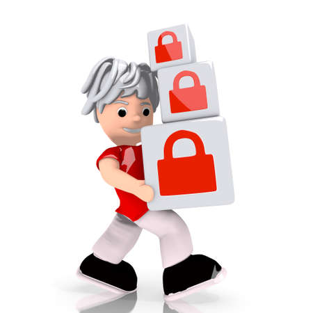 carried: Dark red  isolated security 3d graphic with save secure symbol  carried by a cute character Stock Photo