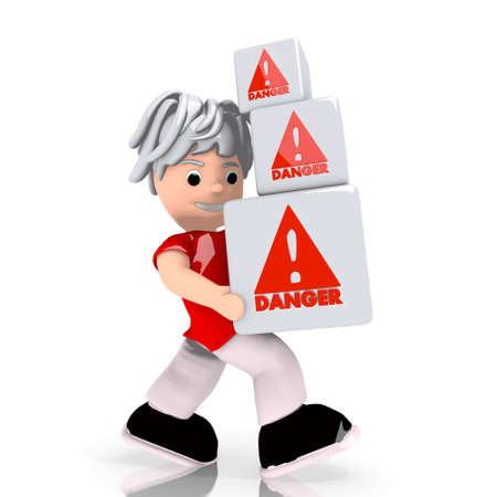 Dark red  isolated work 3d graphic with conceptual Danger sign  carried by a cute character