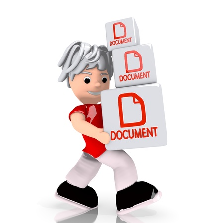 a3: Dark red  new boxes 3d graphic with conceptual document icon  carried by a cute character