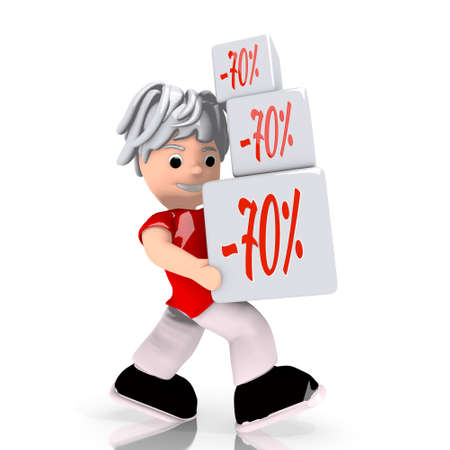 rebate: Dark red  conceptual rebate 3d graphic with conceptual discount icon  carried by a cute character