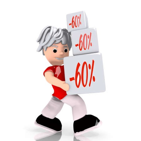 deduction: Dark red  -60 deduction 3d graphic with isolated discount sign  carried by a cute character