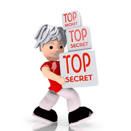 undercover: Dark red  isolated undercover 3d graphic with isolated top secret symbol  carried by a cute character
