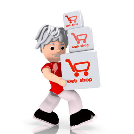 carried: Dark red  conceptual boxes 3d graphic with isolated web shop sign  carried by a cute character