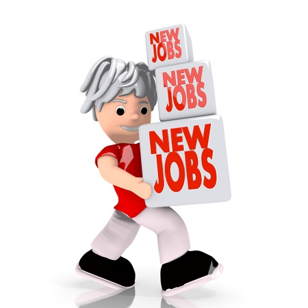 Dark red  isolated offer 3d graphic with conceptual new jobs sign  carried by a cute character photo