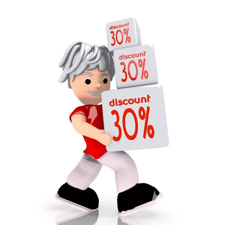 rebate: Dark red  conceptual rebate 3d graphic with conceptual discount sign  carried by a cute character