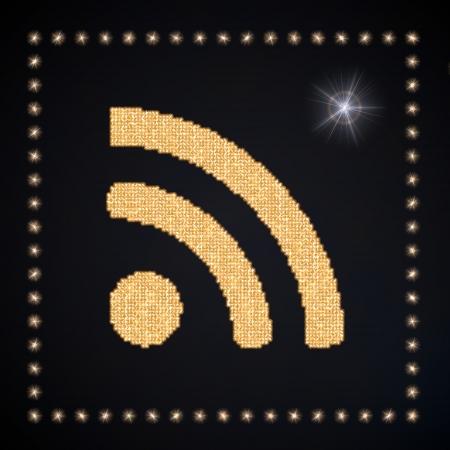 wlan: Black  magic w-lan 3d graphic with magic wifi symbol glittering golden