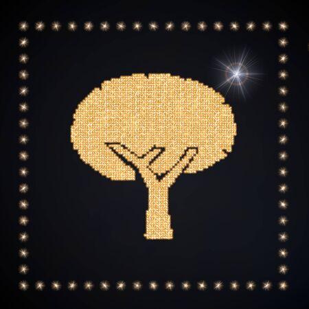 autumnn: Black  magic diamond 3d graphic with magic abstract tree symbol glittering golden