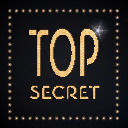 arcane: Black  magic undercover 3d graphic with glowing top secret symbol glittering golden Stock Photo