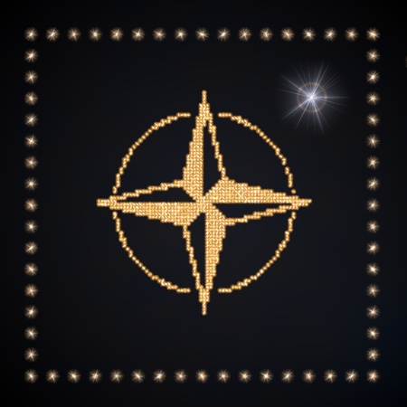 navigating: Black  glowing jewelry 3d graphic with navigating compass symbol glittering golden