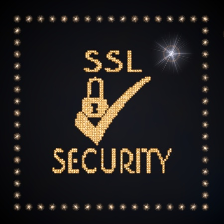 ciphering: Black  glowing disco 3d graphic with glowing SSL symbol glittering golden