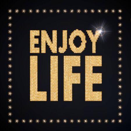 enjoy life: Nero disco magico grafica 3D con la magia godersi simbolo di vita scintillante d'oro Archivio Fotografico