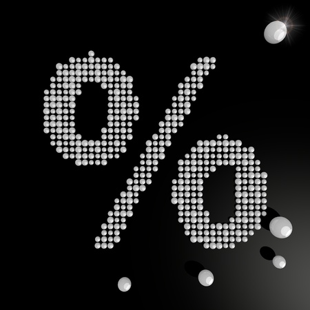 deduction: Black  posh deduction 3d graphic with creative percent symbol made of many spheres