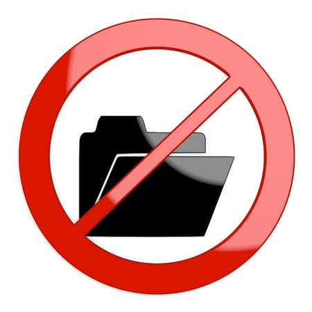 sorted: Dark red  sorted office 3d graphic with restricted folder sign not allowed Stock Photo