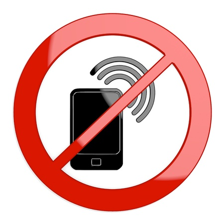 Dark red  isolated phone 3d graphic with forbidden smart phone sign not allowed photo