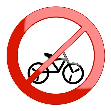Dark red  isolated warning 3d graphic with restricted bicycle sign not allowed photo