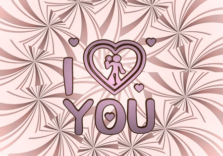 i label: Sky magenta  round love 3d graphic with tiny I love you label  on vintage backgrond Stock Photo