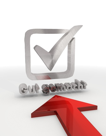 gut: Red  metallic ok 3d graphic with metallic gut gemacht german for well done symbol with red arrow