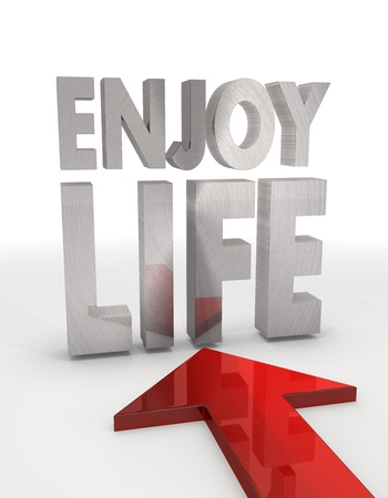 enjoy life: Red  decorative element 3d graphic with isolated enjoy life symbol with red arrow