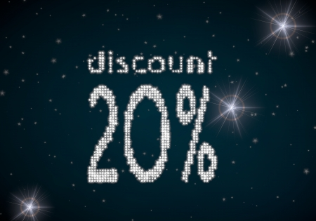 rebate: Black  glowing rebate 3d graphic with -20 discount symbol glittering on night sky Stock Photo