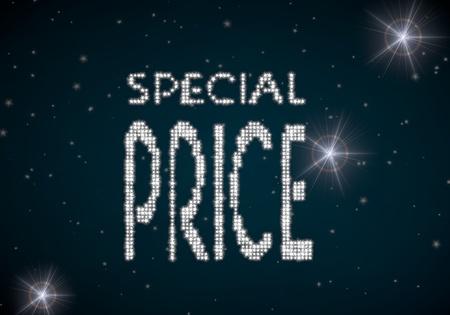 rebate: Black  beautiful rebate 3d graphic with beautiful special price symbol glittering on night sky Stock Photo