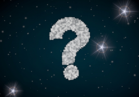 Black  unclear disco 3d graphic with ? question symbol glittering on night sky