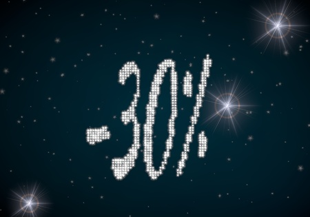 rebate: Black  glowing rebate 3d graphic with -30 discount symbol glittering on night sky Stock Photo