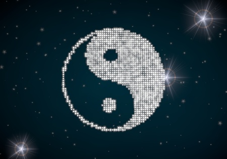 yang ying: Black  glowing religion 3d graphic with harmonious ying yang symbol glittering on night sky Stock Photo