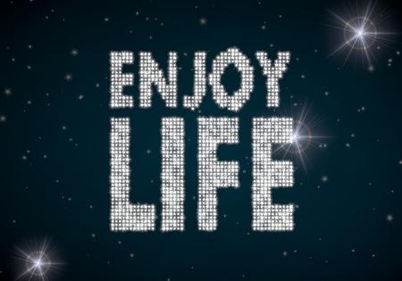 enjoy life: Black  glowing disco 3d graphic with glowing enjoy life symbol glittering on night sky Stock Photo