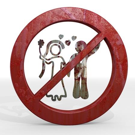 to wed: Scuro sposa rosso sposata grafica 3d con limitate segno matrimonio non consentito