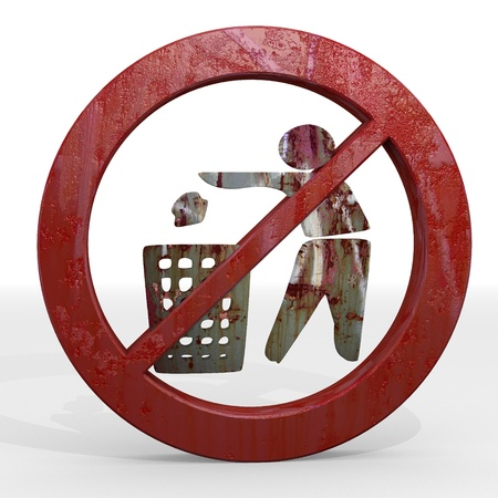 cast off: Dark red  old litter 3d graphic with forbidden delete sign not allowed Stock Photo