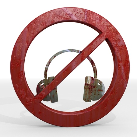 Dark red  rusty warning 3d graphic with isolated headphones sign not allowed photo