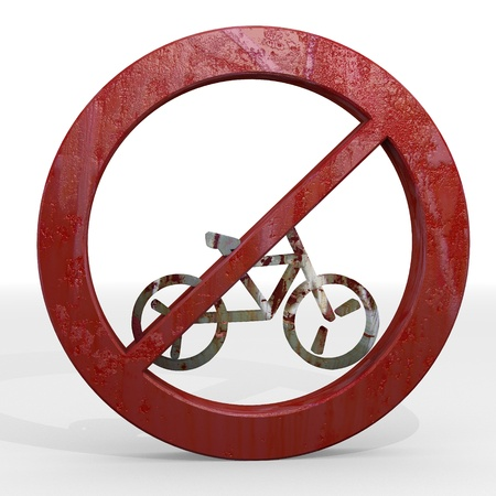Dark red  restricted warning 3d graphic with old bicycle sign not allowed photo
