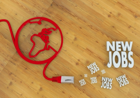 Red  wooden create jobs 3d graphic with wooden new jobs symbol on network to home office desk Stock Photo - 21666057